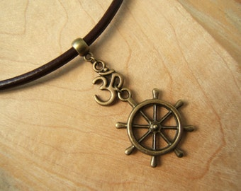 Buddhist Dharma /wheel of life and Om/Aum symbol necklace with 3mm leather cord