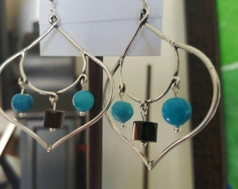 Sterling silver earrings with onyx and turquoise beads