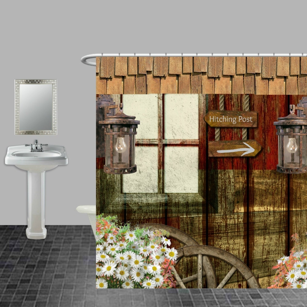Rustic Primitive Weathered Wood Shower Curtain By FolkandFunky