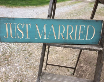 "Custom Carved Wooden Sign - ""Just Married"" - 24""x6"""