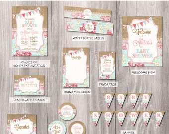 Baby Shower Party Package, Shabby Chic Party Package, Girl Baby Shower Invitation, burlap, shabby chic baby shower Printable Party Package