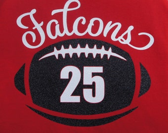 Custom Football Shirt with player number - personalize for your team name (Falcons shown), team colors and player number!
