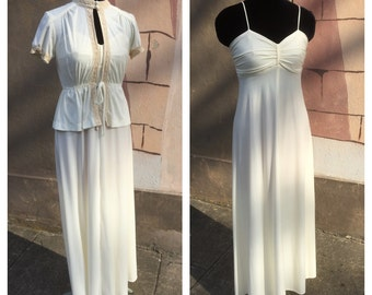 1970s vintage two piece ivory dress and jacket