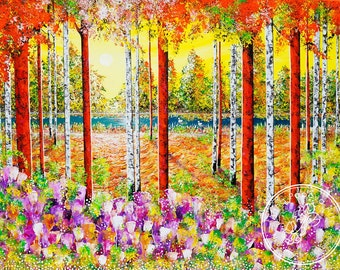 "Large Landscape Painting ''Good Morning'', Acrylic On Canvas By Alina Popova, Size: 36"" x 48"" (1219cm x 914cm)"