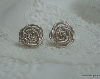 Hand made 'rose', 925 sterling silver stud earrings - pair or single
