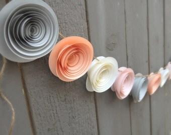 Peach Flower Garland - Grey Flower Garland - Ivory Flower Garland - Paper Flower Garland - Peach Bridal Shower Decor - Peach Wedding Décor