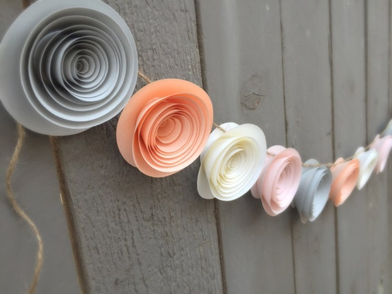 Peach flower garland grey flower garland ivory flower garland il570xn mightylinksfo