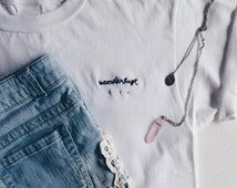 "Tumblr Embroidered ""Wanderlust"" T-Shirt (customize!)"