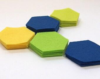 Felt Hexagons, 1-inch - Die Cut Felt Shapes - Your Choice of Colors - Geometric Shapes - Wool Blend Felt