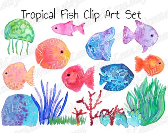 Watercolor Clipart Tropical Fish Clip Art Marine clipart Coral PNG digital Under the sea Hawaiian Party, Island Theme, Beach Wedding