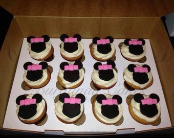 12 Edible Fondant Minnie Mouse Inspired Cupcake Toppers