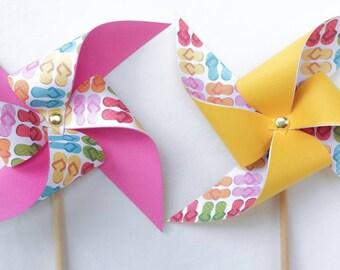 Pinwheels - Flip Flops, Pink and Yellow - Set of 6