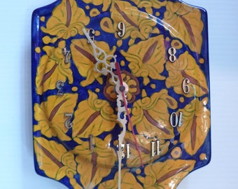 Vintage Talavera Clock Wallhanging Ceramic Southwest Style Made in Mexico