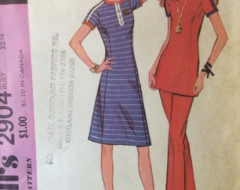 Vintage McCalls 1970's Dress, Tunic and Pants Sewing Pattern