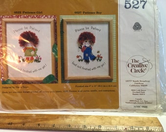 """Vintage 1981 The Creative Circle Crewel Embroidery Stitchery Kit 527 """"Patience Boy"""" 8"""" x 10"""""""