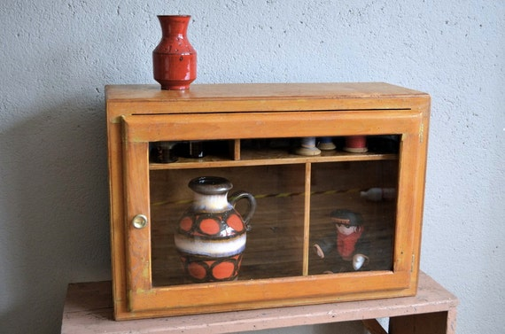 small cabinet vitrine wall shelf rustic 1960s. Black Bedroom Furniture Sets. Home Design Ideas