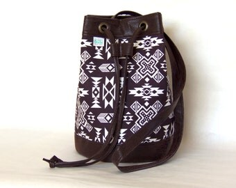 Brown and White Southwestern, Native American Vegan Leather Bucket Bag Purse