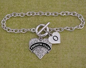 Custom Initial French Club Heart Toggle Bracelet