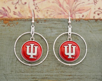 Indiana Hoosiers Iridescent Round Earrings