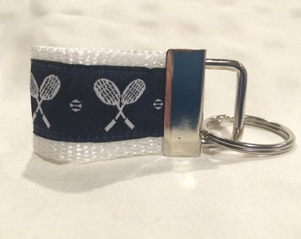 Navy Blue and White Tennis Woven Jacquard Ribbon on White Webbing MINI Key Fob Keychain