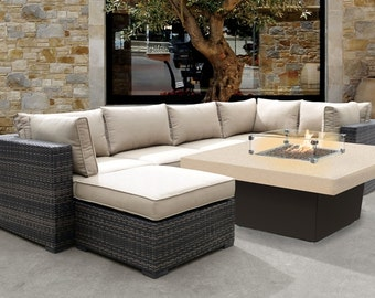 Square Fire pit Table, Optional granite top