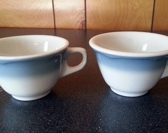 2 Vintage Jackson China Blue Gray Airbrushed Coffee Cups/Mugs - Restaurant or Diner Ware