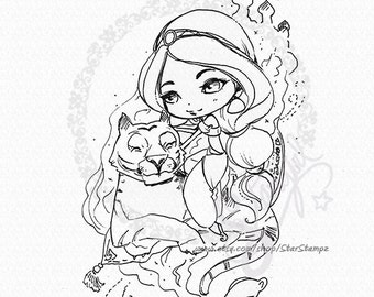 Princess Jasmine Chibi DIGITAL STAMP Instant Download