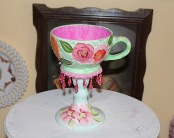 Pink and Green Floral Tea Cup Centerpiece, Wonderland Mad Hatter Tea Party Teacup Candle Holder