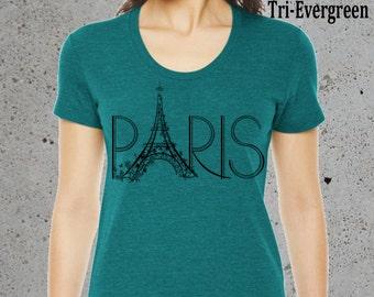 Womens PARIS Eiffel Tower T Shirt, Paris Clothes France Tee, Gifts Tshirt American Apparel Tri-Blend Tee Green S M L XL, Christmas Gifts
