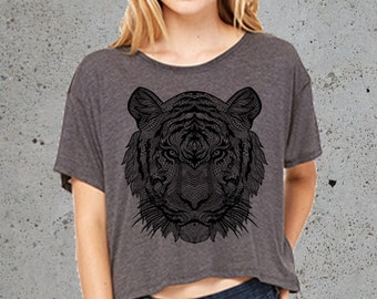 TIGER t-shirt Crop Top -Women Graphic tee- Swanky Tee- off the shoulder Flowy Tee/()-Girlfriend gifts for her