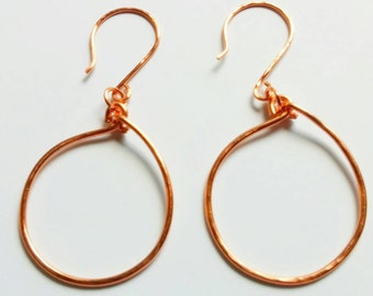 Small Copper Hoop Earrings, Hammered Copper Oval Hoops