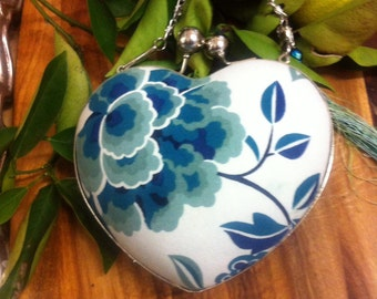 Blue floral clutch, Heart shaped bag with teal flowers, blue and white floral print, handmade silk and cotton tassels and silver chain