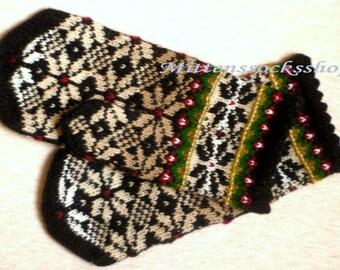Black Beige White Hand Knitted Mittens Wool Mittens Wool Gloves Warm Mittens Patterned Mittens Winter Mittens Latvian Mittens Gift idea 2017