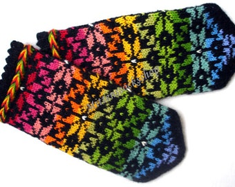 Rainbow Mittens Hand Knitted Mittens Rainbow Gloves Wool Mittens Hand Knitted Gloves Wool Winter Gloves Patterned Mittens Latvian Mittens