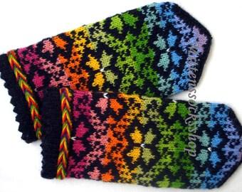 Hand knit mittens Rainbow wool mittens Rainbow gloves Patterned mittens Hand knit wool gloves Colorful Latvian mittens Christmas gift idea