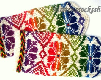 Rainbow Mittens Hand Knitted Wool Mittens Rainbow Gloves Hand Knitted Wool Gloves Rainbow Women's Gloves Rainbow Girl's Mittens with Pattern