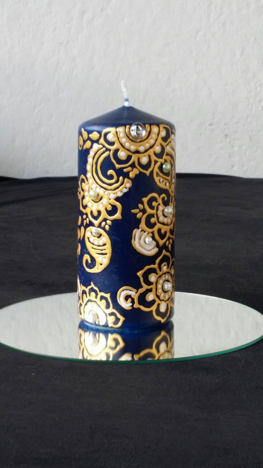 Henna candle candle painted with golden acrylic by sartndesign for Can you paint candles with acrylic paint