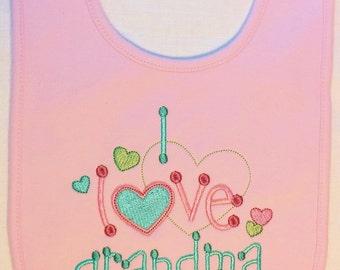 BEST SELLER - I Love Grandma Baby Bib, Embroidered Bib
