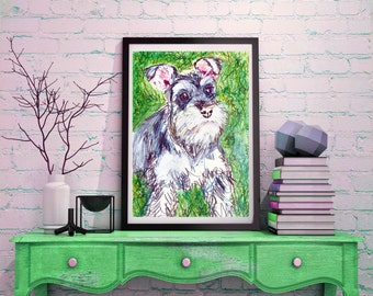 Schnauzer painting, dog Painting, Schnauzer  Print , watercolor, art  print, Schnauzer Dog Art, 8x10, 11x14 wall art print