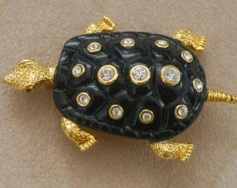 KJL Kenneth Jay Lane turtle brooch