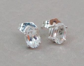 White Topaz Post Earrings, Topaz Stud Earrings, 6x4mm Topaz Gemstone, Sterling Silver, Bride, Wedding Jewelry, April Birthstone Gift