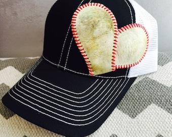 Baseball Mom Hat w/permanent Baseball Heart