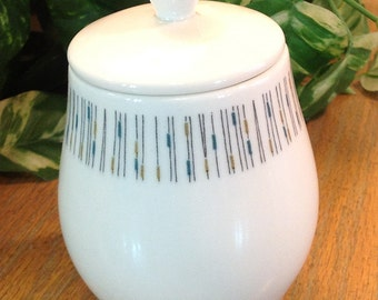 Vintage Syracuse Carefree True China Jackstraws Sugar Bowl with Lid 1960s