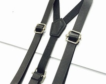 SALE!!! Modern Black leather baby suspenders, adjustable, toddler suspenders, child suspenders, fits 6 months to 3T
