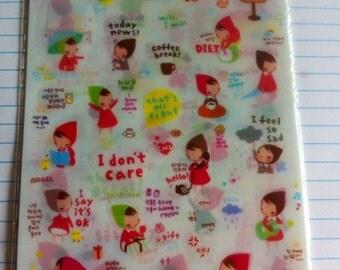 Kawaii girl sticker 6 pages