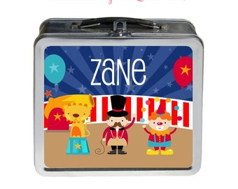 Circus Lunchbox - Personalized Tin Metal Lunchbox - Double-Sided Big Top Design