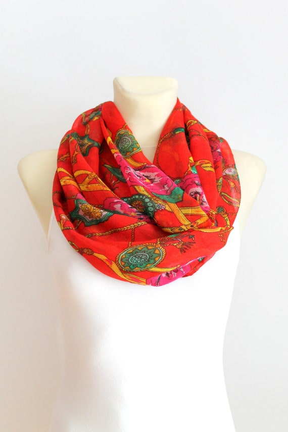 Boho Infinity Scarf Floral Print Scarf Boho Loop Scarf Gift for Mom Grandma Stepmom Spring Celebrations Mothers Day from Daughter Husband