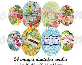 Digital collage sheet, digital images tropical, oval size, oval image, flamingo, exotic, parrot, digital collage, instant download