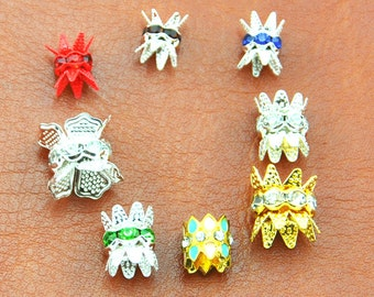 20PCS Vintage Silver Patina/Gold plated Czech Crystal Rhinestone Rondelle Bead Cap Spacers  --G1777