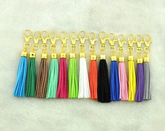 Suede Tassel,Leather Tassel Key Chain, Tassel Key Chain, Gold Tassel Key Chain,Key Ring 16x37mm,tassel 12x88mm----S247